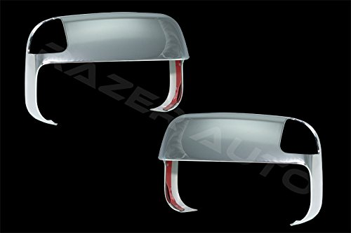 Razer Auto Triple Chrome TOWING Mirror With Turn Signal Overlay Cover Pair for 10-15 Dodge RAM TRUCK 1500, 2500, 3500, HD