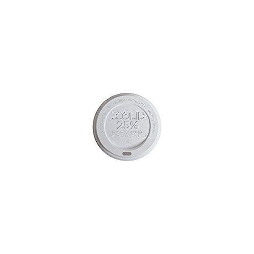 Eco-Products EcoLid 25% Recycled Content Hot Cup Lids, Fits 10 to 20 oz Hot Cups, White, Case of 1000 (EP-HL16-WR)