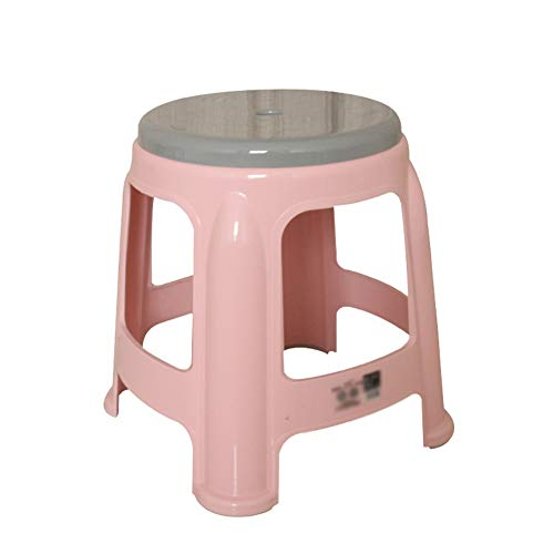 (Footrest Household Plastic Stool Anti-Skid Short Stool Small Chair Bathroom Step Stool HUYP (Color : Pink))