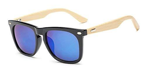 Gafas de Sol de Madera de Bambú con Azul Lente Polarizada de Protección UV en Vintage Wayfarer Style, Auténtico Marco Natural para Hombres/Mujeres Anteojos Hechos a Mano en la Playa