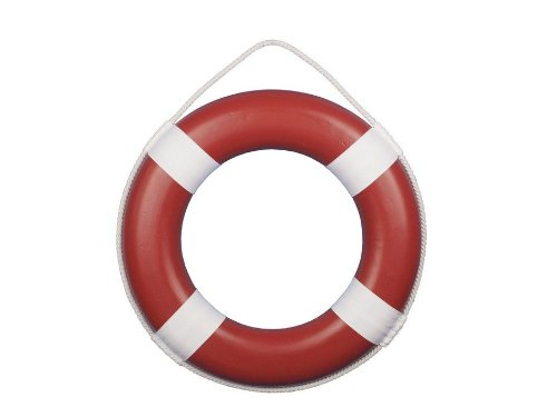 Hampton Nautical  Red Painted Lifering with White Bands, 20'' by Hampton Nautical