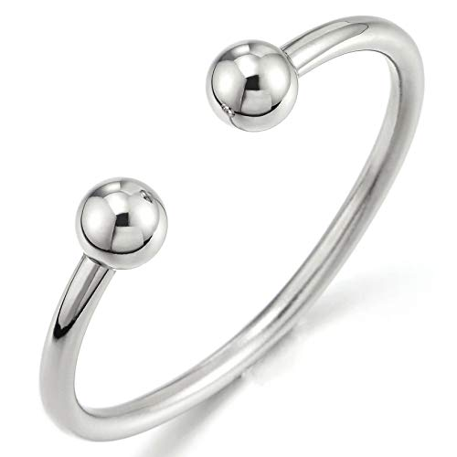 COOLSTEELANDBEYOND Elastic Adjustable Stainless Steel Ball Cuff Bangle Bracelet for Men Women Polished ()