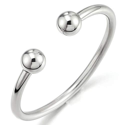 COOLSTEELANDBEYOND Elastic Adjustable Stainless Steel Ball Cuff Bangle Bracelet for Men Women - Mens Bangle Steel Stainless