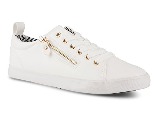 Twisted Women's Alley Faux Leather Fashion Sneaker with Decorative Zipper - ALLEY14 White, Size 10