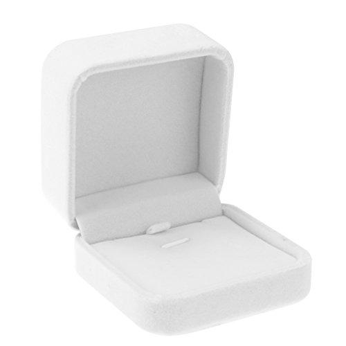 Baosity Deluxe VELVET Necklace Pendant Earring Bangle Jewelry Storage Gift Box Case - White ()