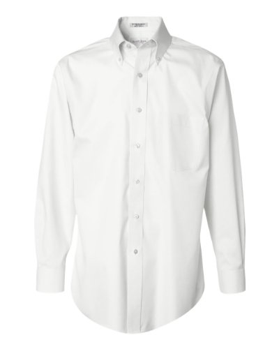 Button Down No Iron Pinpoint - Van Heusen Men'S Long Sleeve Easy Care Non-Iron Pinpoint Dress Sh (White) (M)