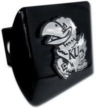 Kansas Jayhawks Chrome Metal Hitch Cover with Chrome Logo Elektroplate