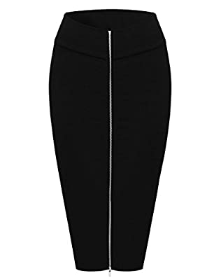 TAM Ware Womens Stylish Exposed Front Zip Stretchy Pencil Skirt