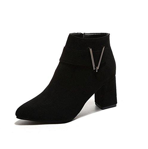 KHSKX-Punta Gruesa Con High-Heeled Zapatos Botas Martin Short Y Arranca El V Clip De Cinturón Botas Desnudo 37 35