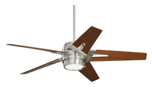 Emerson Ceiling Fans CF550WABS Luxe Eco Modern Ceiling Fan With Light And Wall Control, 54-Inch Blades, Brushed Steel Finish