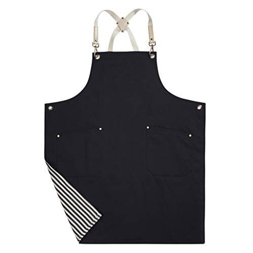 Jeanerlor Double sided (Stripe and Black) Cotton Canvas Durable Apron for Woman with Convenient Pocket, Professional Apron for Cooking,Grill and Baking Cross-Back Straps & Adjustable S to XXL