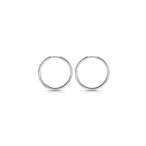 Amberta 925 Sterling Silver Fine Circle Endless Hoops - Polished Round Sleeper Earrings Diameter Size: 20 30 40 60 80 mm (20mm)