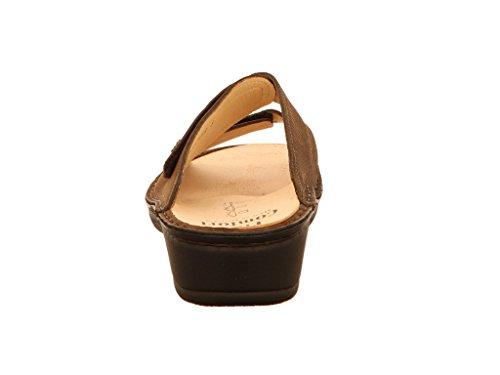 mujer Piel Finn de madera para Comfort Zuecos marrón Rpq4X