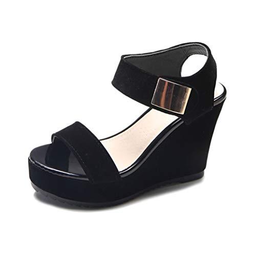 (GIY Women Platform Wedges Sandals Open Toes Summer Comfortable Rome Thick Bottom High Heel Sandals Black)