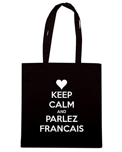 Speed Shirt Borsa Shopper Nera TKC2941 KEEP CALM AND PARLEZ FRANCAIS