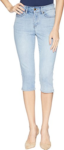 NYDJ Women's Skinny Capri with Palm Tree Embroidery Pants, Clean Cloud Nine 10