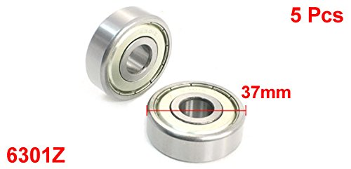 6301Z 12x37x12mm One Row Sealed Deep Groove Radial Ball Bearings 5 Pcs