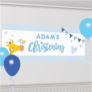 (Amscan 9901956 120 x 45 cm On Your Christening Day Blue Personalised)