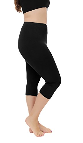 Cheapestbuy Modal Seamless Capri Length Basic Cropped Leggings Black XXL ()