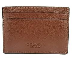 Coach Mens Money Clip Credit Card Case Leather Dark Saddle F75459