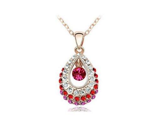 KATGI Fashion Austrian Crystal Angel Teardrop Pendant Necklaces (Gold Plated - Plated Gold Pendant Drop