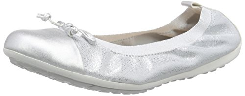 Geox J Piuma 48 Ballerina (Little Kid/Big Kid), Silver, 33 EU (2 M US Little Kid) by Geox