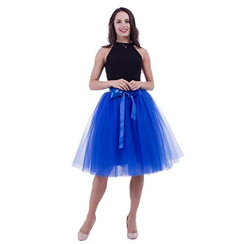 Royal bluee WHFDBZQ 7 Layers 65Cm Knee Length Tulle Skirt Tutu Women Skirt High Waist Pleated Skirt Cosplay Petticoat Elastic Belt