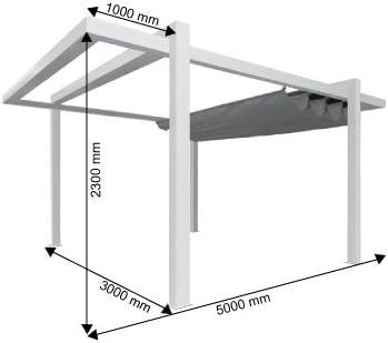 Pérgola independiente clásica de lona y aluminio – 4 x 3 m – Gris ...