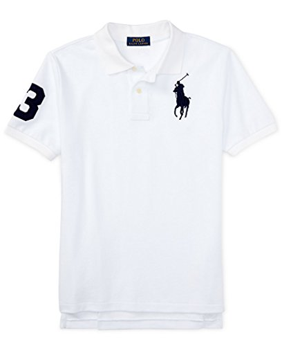 Boys Polo Ralph Lauren Big Pony Polo Shirt  X Large  White  Navy Blue Pony