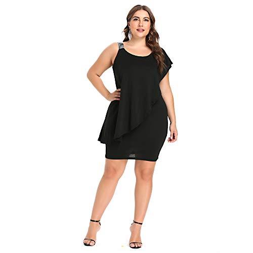 Plus Paillettes Ytjh Nero Tie Donna Asimmetrico Dress Ruffle Off Taglie Fitted Shoulder Nudo Girocollo Mini 5xl Xl vqwg7