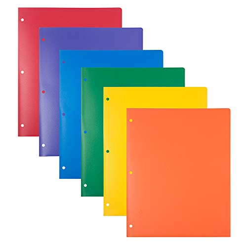 (JAM PAPER Heavy Duty Plastic 3 Hole Punch School Folders with Pockets - Assorted Primary Colors - 6/Pack)