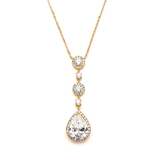 Mariell 14KT Gold Plated Wedding Bridal Necklace - Y-Style Pendant with Round & Pear-Shaped CZ Teardrop
