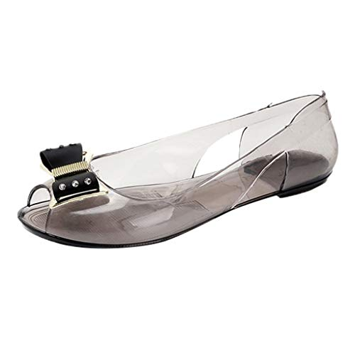 (Toimothcn Women Transparent Crystal Sandals Jelly Fish Mouth Peep Toe Flat Shoes with Bow(Gold,US:6.5))