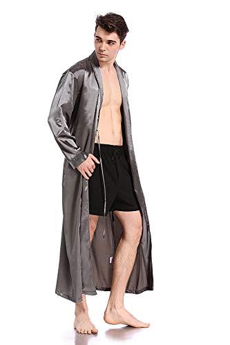 Like2sea Silky Satin Robe for Men, V-Neck Long Lightweight Bathrobe, Gray, ()