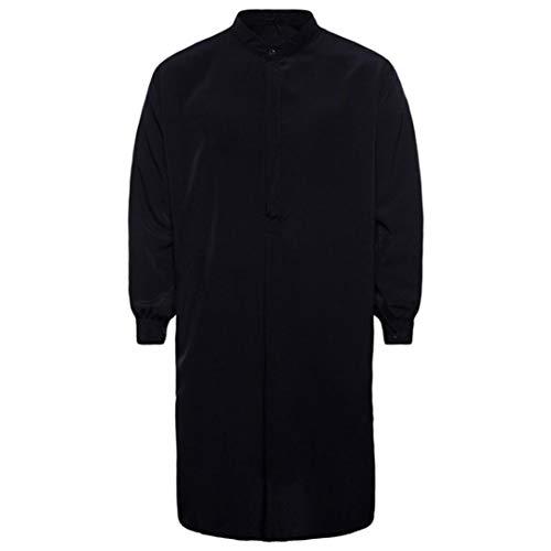 WUAI Men's Casual Muslim Islamic Arabic Clothing Long Sleeve Regular Fit Dress Shirt(Black,US Size M = Tag L)