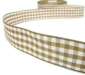 3 Yds Light Brown Tan Beige White Gingham Reversible Ribbon 7/8