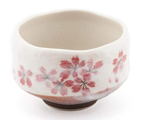 Happy Sales HSMB-SKFL3, Authentic Japanese Traditional Tea Ceremony Matcha Bowl Chawan Handcrafted in Japan, Pink Sakura Flower