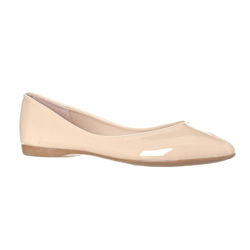 Riverberry Women's Ella Basic Closed Pointed Toe Ballet Flat Slip On Shoe, Nude Patent, 7.5