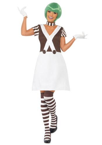 [Smiffy's Women's Candy Creator Female Costume Dress Collar Gloves and Stockings, Brown/White,] (Candy Woman Costumes)