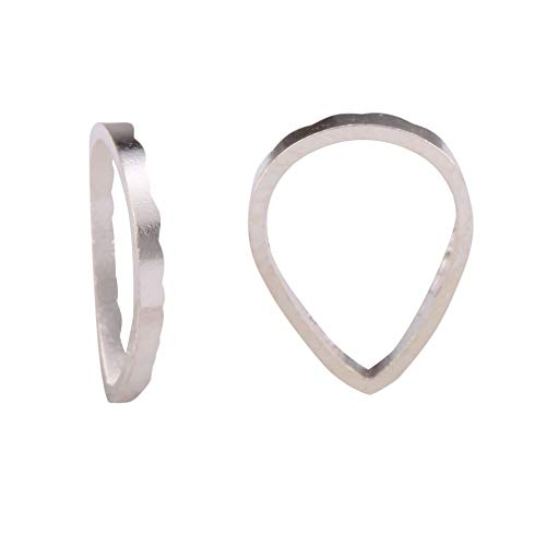 ilver Teardrop Ring Charm Connector Beads 8x6mm Sterling Silver plated for Jewelry Making CF128 ()