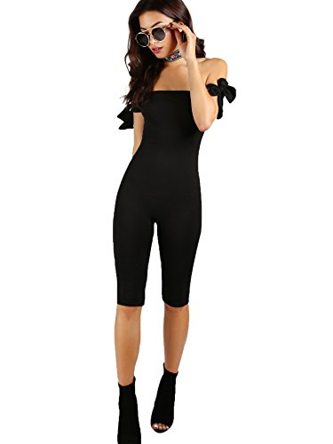 Romwe Women's Sexy Skinny Slim Tube Top Capri Length Romper Jumpsuit Black L