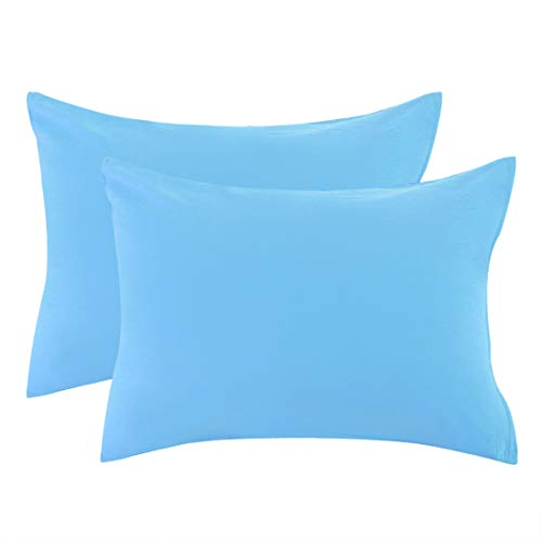 uxcell Zippered King Pillow Cases Pillowcases Covers Protectors, Egyptian Cotton 300 Thread Count, 20 x 36 Inch, Blue, Set of 2