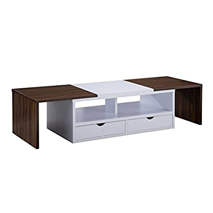 Coffee Table Extendable.Amazon Com Bowery Hill Extendable Coffee Table In Dark Walnut And