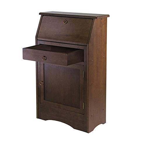 Small Secretary Desk - Roll Top Study Desk with Drawer and Storage Shelves - Walnut Finish