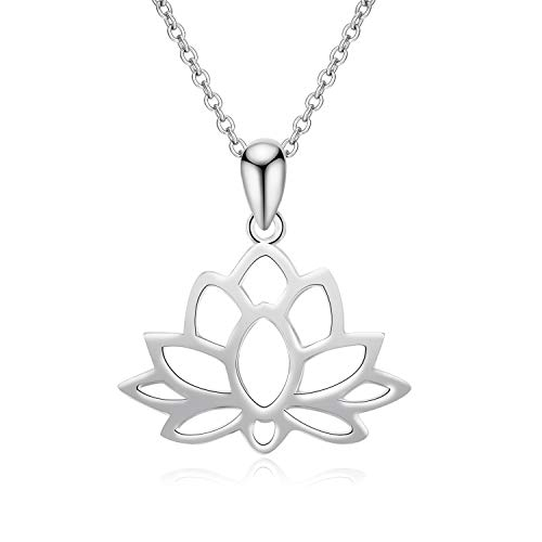 YFN Sterling Silver Open Lotus Flower Pendant Necklace Women Yoga Necklace for Women (Silver)