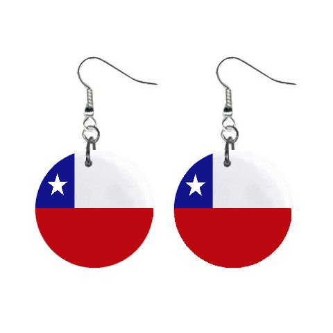 Chile Flag Button Earrings
