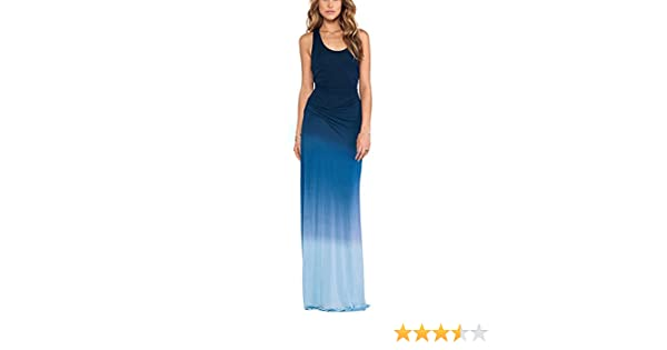 ebed879bcce6f7 Summerwhisper Women's Dip Dye Party Fall Tank Top Dress Maxi Blue at ...