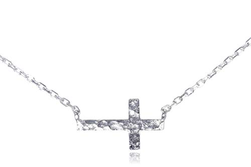 "Dote Sideways Horizontal Cross Pendant Dainty Genuine .925 Sterling Silver Hammered Necklace 16-18"" Adjustable Chain"