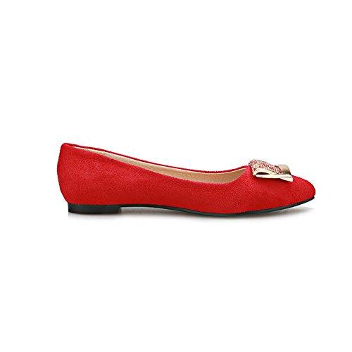 VogueZone009 Damen Mattglasbirne Ziehen auf Spitz Zehe Niedriger Absatz Rein Pumps Schuhe Rot