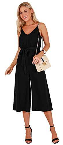Longwu Women's Casual V-Neck Spaghetti Strap Sleeveless Wide Leg Jumpsuit Rompers with Belt Black-XL (Jumper Long Black)